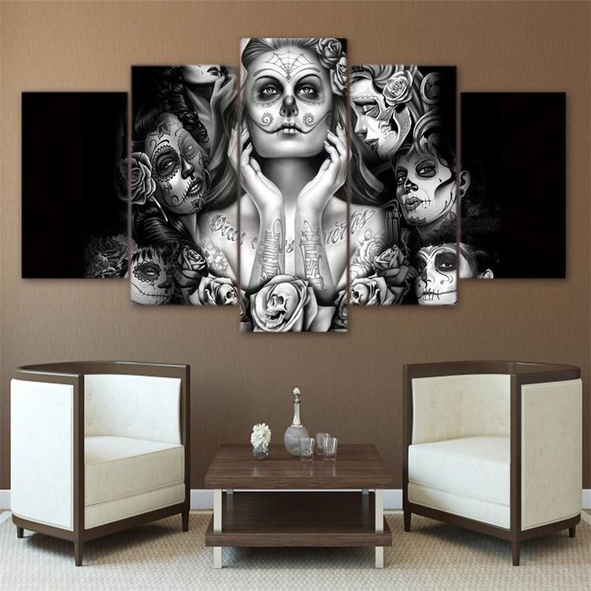 HD Dicetak Hari Mati Face 5 Piece Lukisan Kanvas Dekorasi Ruang Tamu Skull Canvas Dinding Seni-Internasional