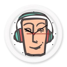 Headset Abstract Face Sketch Emoticons Online Chat Silent Non-ticking Round Wall Decorative Clock Battery-operated Clocks Gift Home Decal - intl