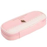 Hengsong Terlaris Pu Kulit Pensil Bag Zipper Pemegang Pink Promo Beli 1 Gratis 1