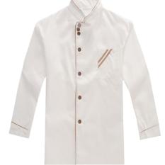 HengSong Lengan Mas Koki Baju Panjang Putih Seragam Pekerjaan Dapur