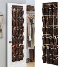 Promo Hengsong Store Door Hanging Shoe Storage Bag Brown 24 Grid Sorting Wardrobe New Non Woven Brown Intl