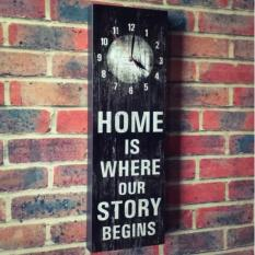 Hiasan Dinding 20x60 / Jam Dinding / Pictbox - Home Is Where Our Story Begins