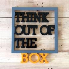 Hiasan Dinding Dekorasi Rumah Tulisan Kayu  Motivasi Think Out Of The Box - 34 x 28 cm