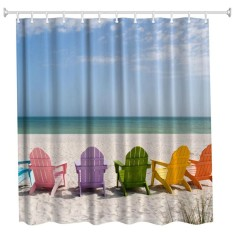 High Definition 3D Printing Water-Proof Polyester Shower Curtain with Beach Chairs Pattern (W71 inch x L71 inch) - intl