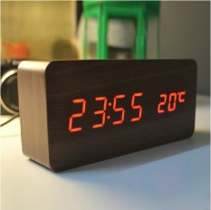 Tinggi Kualitas Jam Alarm With Termometer Kayu Memimpin Jam Jam Meja And Jam Digital Elektronik Original