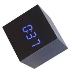 Kayu Berkualitas Tinggi Digital LED Meja Jam Alarm (Biru)-Intl