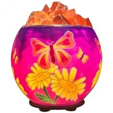 Himalayan CrystalLitez Natural Himalayan Salt Lamp Di Handcrafted dan Unik Artisan Bowl, Pembersih Udara Alami dan Lampu Garam Aromaterapi, Lebih dari 40 Desain Bercahaya untuk Dipilih (Batik Butterfly) -Intl