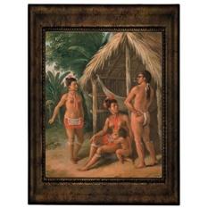 Historic Art Gallery a Leeward Islands Carib Family Outside a Hut 1780 Framed Canvas Print, 8