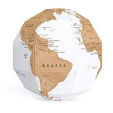 HKS 3D Globe Dunia Peta Membangun Jelajahi Scratch Pribadi Bepergian Memori DIY Hadiah (Putih)