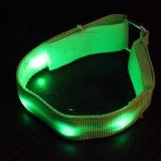 HKS Adjustable Emisi Keselamatan Sabuk Pergelangan Tangan Band Hijau Flash LED Wrist Tali