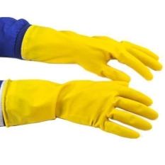 HKS Tinggi-Binatu Tebal Non-slip Tahan Terhadap Udara Getah Sarung Tangan (Kuning)