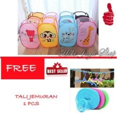 HOKI COD - Keranjang Baju Kotor Lipat Motif Karakter Laundry Basket - 1 Pcs Multi Colour FREE Tali Jemuran - 1 Pcs