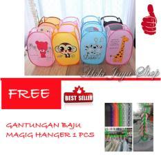 HOKI COD - Keranjang Baju Kotor Lipat Motif Karakter Laundry Basket - Multi Colour FREE Gantungan Baju Magic Hanger - 1 Pcs