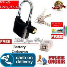 Hoki Cod - Kinbar Gembok Alarm Super Kuat Ring Panjang - Premium + Gratis Pulpen Lilin Unik Serba Guna Hitam Pekat - 1 Pcs By Hoki Jaya Shop