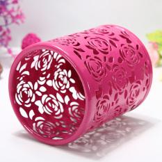 Jual Lembah Mawar Pola Bunga Silinder Dudukan Wadah Pena Pensil Pot Penyelenggara Merah Antik