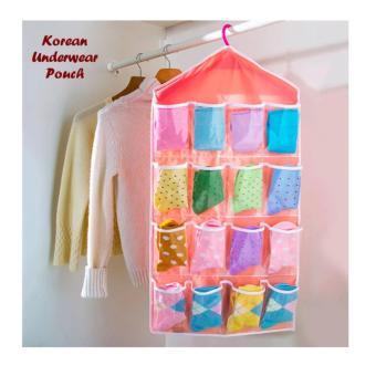 HOLYWINGS - Storage Gantung 16 Kantong Hanger Organizer Underwear Pouch Korean - Pink Muda