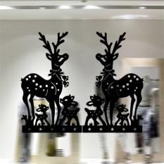 Dekorasi Rumah Simetris Rusa Natal Yang Dapat Dilepas Stiker Dinding Ukuran: 57 Cm X 46.5
