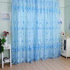 Rumah Dekorasi Daun Pola Desain Jendela Tirai 1*2 M Voile Sheer Tirai untuk Ruang Tamu Tirai Tulle Window -Intl