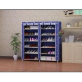Home Klik Shoe Rack 12 Layers With Dust Cover Motif Biru Bintang Diskon Jawa Barat