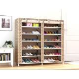 Spesifikasi Home Klik Shoe Rack 12 Layers With Dust Cover Motif Coklat New Bagus