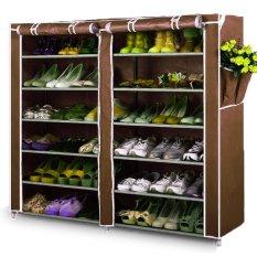 Home-Klik Shoe Rack 12 Layers with Dust Cover - Rak Sepatu - Coklat