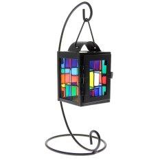 Rumah Meja Kantor Meja Dekoratif Kaca Besi Tergantung Warna-Warni Lentera Lilin (Hitam)
