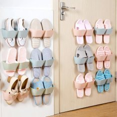 Rumah Pasta Plastik Super Lem Wall Hanging Hanger Shoe Sandal Rak Penyimpanan Organizer Rak-Internasional