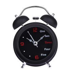 Home Retro Double Bell Desk Alarm Clock(Black)(Black) - intl