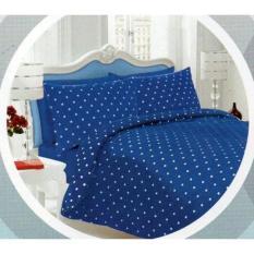 HOT PROMO Bed Cover Tanpa Sprei Katun Jaxine Dottie Biru Tua Single E771