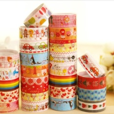 Hot Sale 10 Pcs Colorful Dekoratif Diri Perekat Masking Washi Tape Lengket Kertas Stiker DIY untuk