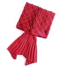 Hot Sale Dewasa Fish Scales Style Knit Mermaid Tail Selimut Sleeping Bag 90*195 Cm Merah-Internasional
