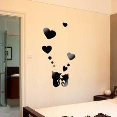 Harga Hot Sale Diy Wall Sticker Acrylic Kartun 3D Cute Pecinta Kucing Bentuk Cermin 4 Warna Wall Sticker Untuk Kamar Tidur Dekorasi Rumah Hitam Terbaru