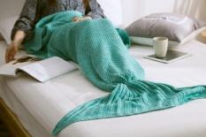 Hot Sale Soft Hangat Knit Mermaid Tail Selimut Sleeping Bag untuk Dewasa 80*180 Cm Hijau-Internasional