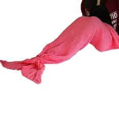 Hot Sale Soft Hangat Knit Mermaid Tail Selimut Sleeping Bag untuk Dewasa 80*180 Cm Berwarna Merah Muda-Internasional