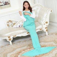 Hot Penjualan Mermaid Selimut Rajutan Crochet Mermaid Tail Selimut Hangat Sleeping Bag untuk Anak Dewasa Hijau Muda 180*90 CM-Intl