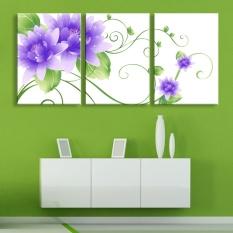 Jual Hot 3 Panel Modern Lukisan Dinding Gambar Bunga Ungu Flowers Home Decorative Art Picture Paint On Canvas Prints