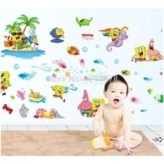 Hot Sell SpongBob Kids Favorite DIY Removable Wall Sticker KidRooms Bathroom living room bedroom Home Decor Mural Decal DF9909