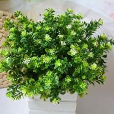 Laris 7 Cabang/Buket 35 Kepala Tanaman Hijau Buatan Palsu Milan Bonsai Rumput Dekorasi Daun Pernikahan Sudut Rumput Dekorasi-Intl