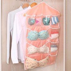 Mimosifolia Guadai Kaus Kaki Pakaian Bra Kain Kantong Menggantung Tas Lemari Penyimpanan Lemari Menggantung Hiasan Dinding Tas (84 Cm X 42 Cm, Tidak Mengandung Gantungan, Pink)-Intl