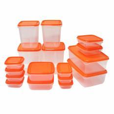 Diskon Besarikea Pruta 17 Pcs Toples Penyimpanan Makanan Transparan Berbagai Ukuran Bpa Free Orange