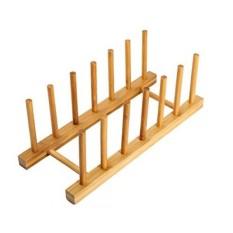 HTB Bambu Dish Rak Piring Pengeringan Penyimpanan Penahan Penyangga Dapur Cabinet Organizer untuk Dish/Piring/Mangkuk/Cangkir /Tutup Panci/Buku/Cutting Babi Hutan (1 Piece) -Internasional