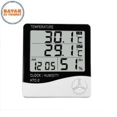 HTC - 2 Digital Electronic Temperature Humidity Meter Thermometer Alarm Clock Tri-Bar