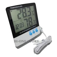 HTC-2 Termometer + Hygrometer + Jam Digital Thermometer Pengukur Alat Ukur Suhu Kelembaban