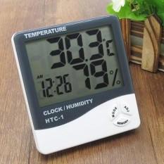Hygrometer Temperatur Suhu Ruangan 3 in 1 HTC-1/Humidity/Jam Digital Termometer Alat pengukur suhu ruangan