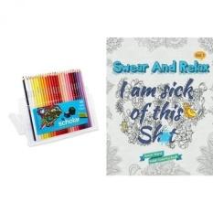 Aku Muak Ini S ** T (Bersumpah dan Bersantai #1): Bersumpah Buku Mewarnai Berwarna (Volume 1) dan Pensil Warna Prismacolor Gramedia, Set dari 48 Aneka Warna-Intl