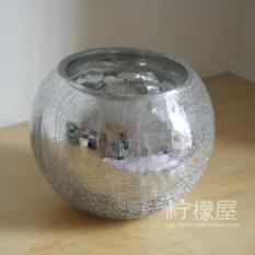 Es Retak Ball Glass Vase Silver Botol Kaca Meja Ruang Tamu Simulasi Bunga Pot Bunga Suit-Intl