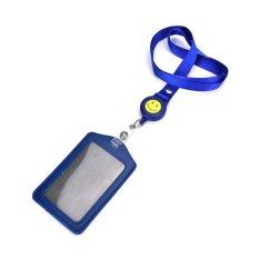 ID Nama Pemegang Kartu Badge Retractable Reel Mundur Lencana ID Tali-temali Kapal Belt Clip Blue-Intl