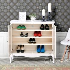 iFurnholic Baroque Shoe Cabinet - Tempat Penyimpanan  Sepatu dan Sandal - Putih Tulang - Gratis Pengiriman Pulau Jawa dan Denpasar