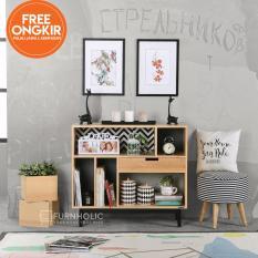 iFurnholic CHEVRO Sideboard Open Shelf - Tempat Penyimpanan / Rak - Coklat Kayu - Gratis Pengiriman Pulau Jawa dan Denpasar