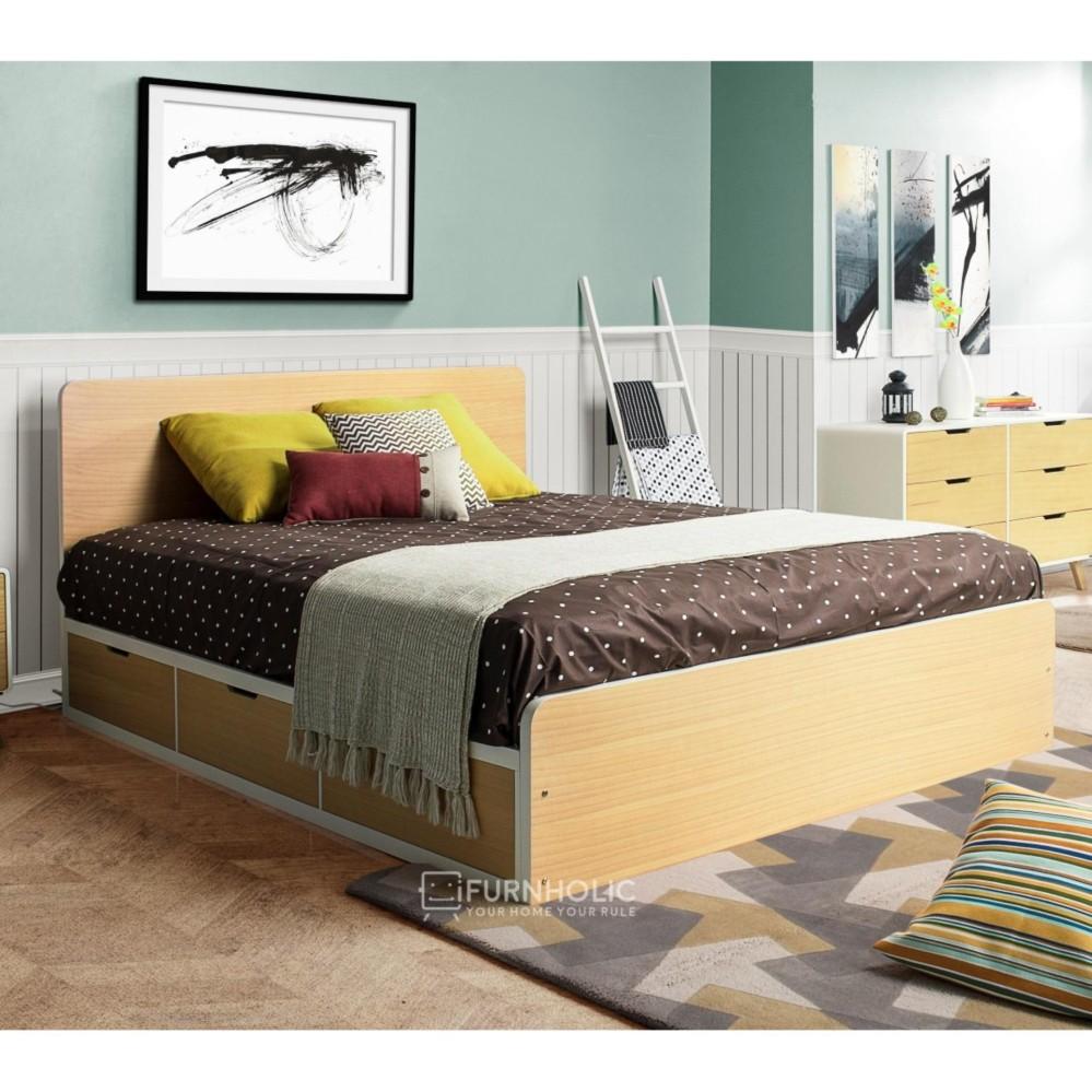 iFurnholic Helsinki Single Bed with Storages - Ranjang / Tempat Tidur - Nature - Gratis Pengiriman Pulau Jawa dan Denpasar